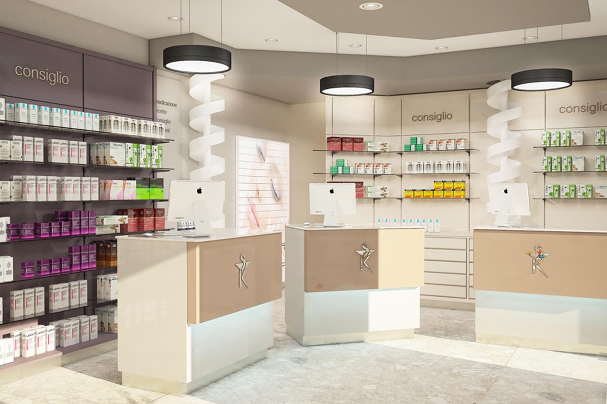 Render di arredamento farmacia